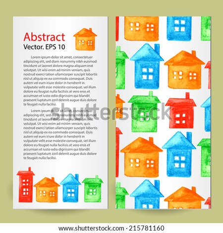 Watercolor background. Template Branding Design. House design set cards.  Vector. Can be used for wallpaper, background, pack, web page, banners. - stock vector