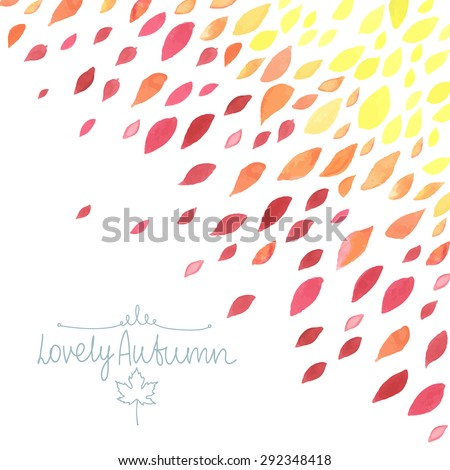 Watercolor background with autumn leaves. All object made in vector. Each one is separately. - stock vector
