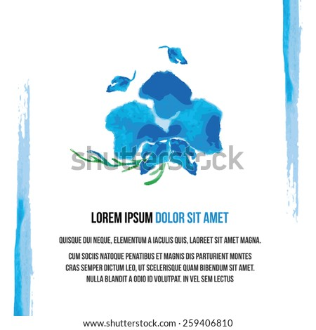 watercolor background with blue orchid flower on a white background . vector background - stock vector