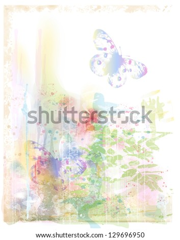 watercolor background with butterflies - stock vector