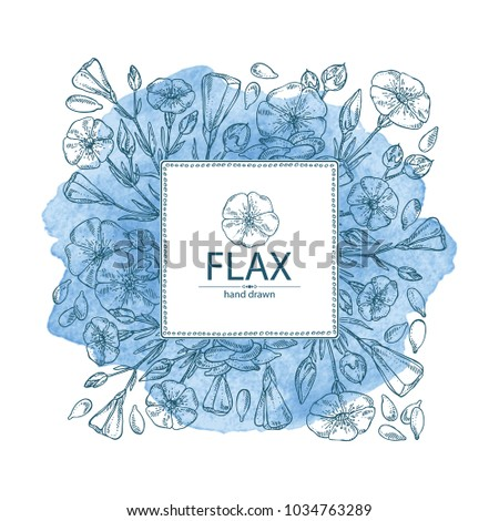 Watercolor Background Flax Plant Seeds Flowers Stock Vector ...