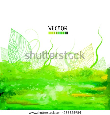 Watercolor background with green leaves. Vector - stock vector