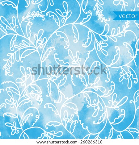 watercolor background with seamless floral pattern