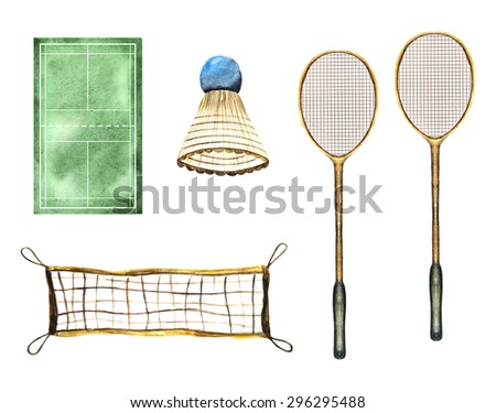 Watercolor badminton sport game objects, icons collection including racket, net, court and shuttlecock - stock vector