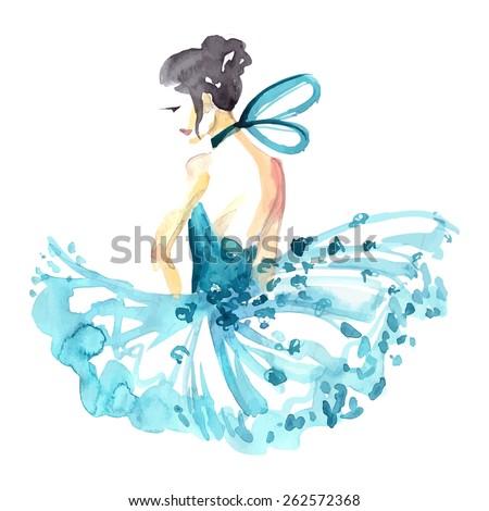 Watercolor ballerina in blue tutu ,vector - stock vector