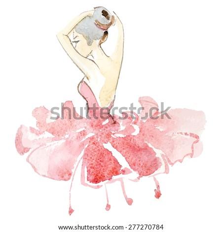 Watercolor ballerina in colored fashion dress - stock vector