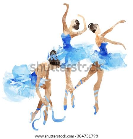 watercolor ballerinas dancing - stock vector