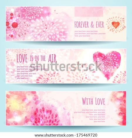 Watercolor Banners with Hearts. Vector illustration, eps10 (editable). - stock vector
