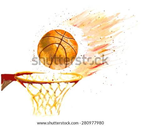 watercolor basketball ball thrown in a basket - stock vector