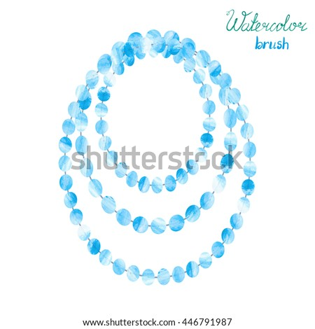 Watercolor beads isolated on white. Vector illustration of blue necklace.