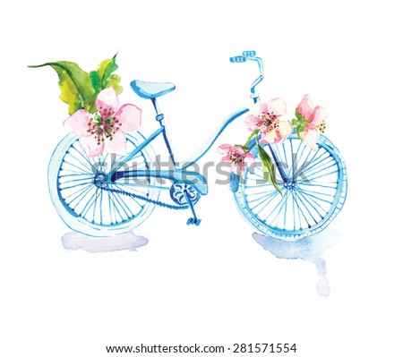 Watercolor bicycle with flowers over white, Vector - stock vector