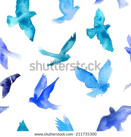 Watercolor birds seamless pattern. - stock vector