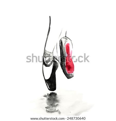 Watercolor black ballerina, vector - stock vector
