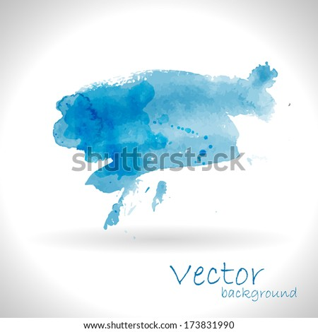 Watercolor blue background - stock vector