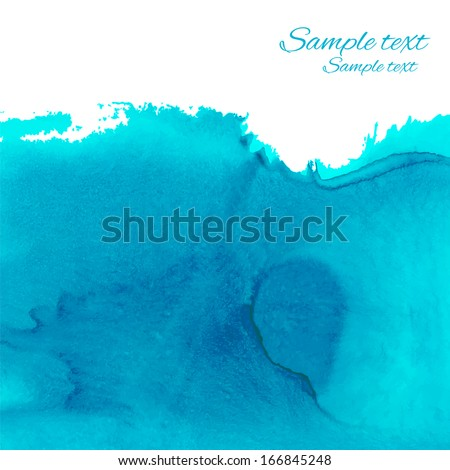 Watercolor blue background with space for text - vector  - stock vector