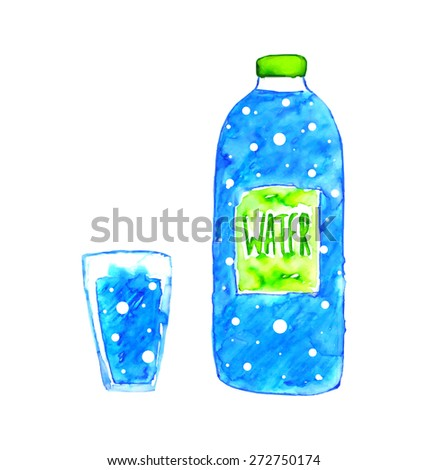 Watercolor blue bottle of water and glass of water with bubbles - stock vector