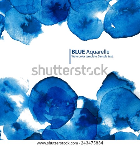 Watercolor blue circles abstract frame with text. Business template. - stock vector