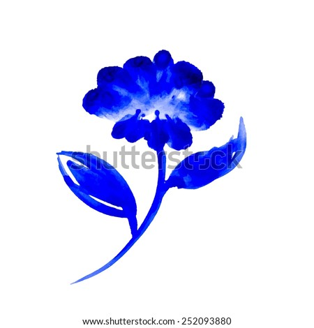 Watercolor blue flower - stock vector