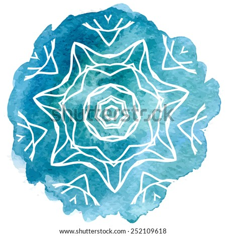 Watercolor blue lace - stock vector