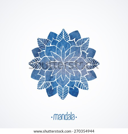 Watercolor blue mandala. Geometric round decorative element for design. Lace flower pattern isolated on white background. Logo template. Vector illustration in oriental, indian style - stock vector