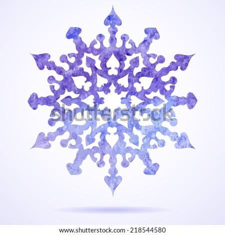 Watercolor blue painted Christmas snowflake - stock vector