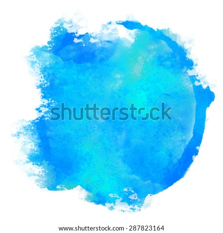 Watercolor blue pant stain on white background  - stock vector
