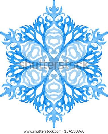 watercolor blue snowflake - stock vector
