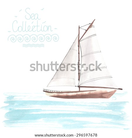 Watercolor boat with sails made in the vector. Sport yacht, sailboat. - stock vector