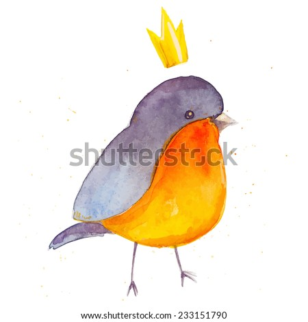 Watercolor bright bird with little crown on white background.Vector illustration - stock vector