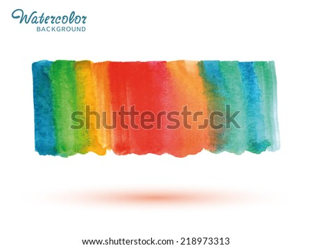 Watercolor bright colors painted isolated banner, rainbow background
