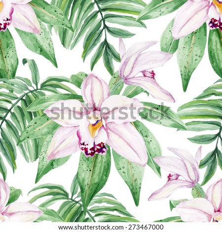Watercolor bright gentle Orchid flowers. Seamless, hand painted, watercolor pattern. Vector background. - stock vector