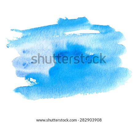 Watercolor brush painted blue isolated stain on white background. Hand drawn strokes and waves paper texture vector illustration. Design striped water abstract element for banner, print, template, web - stock vector