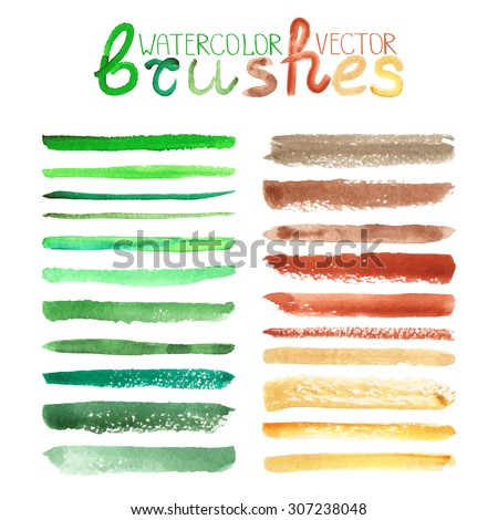 Watercolor brush strokes,texture,line border.Colorful vector.Hand drawing artistic paint art. Bright design template.Natural ecology  green,brown  colors, summer decor elements.