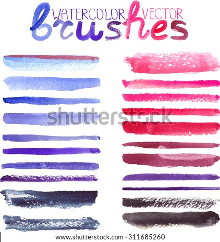 Watercolor brush strokes,texture,line border.Colorful vector.Hand drawing artistic paint art. Bright design template.Lilac,violet,magenta colors, summer decor elements. Tracing image - stock vector