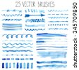 Watercolor brushes,hand painting texture,line brushstroke,border set. Light blue,cyan color.Design template.Watercolor brushes,Blur vector,summer background.Holiday,artistic decor,sea  water,wave,sky - stock vector