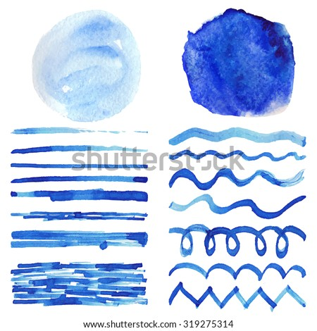 Watercolor brushes, stains, hand painting spot, wavy brushstroke set. Light blue, cyan,color. Bright design template. Blur vector, summer background. Holiday, artistic texture, sea wave,water, sky - stock vector