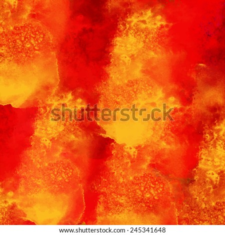 Watercolor burning fire background texture - stock vector