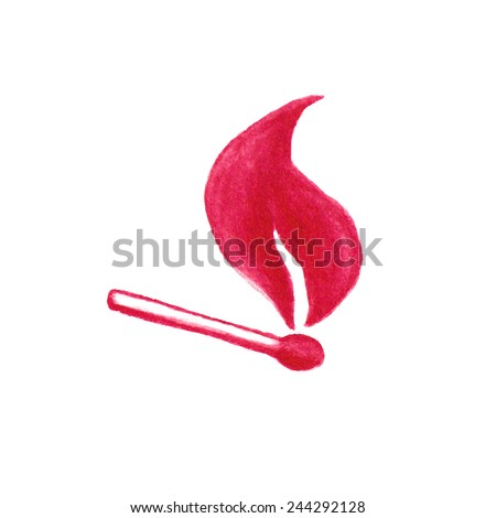 Watercolor burning match stick on the white background, aquarelle pencil.  Vector illustration. Hand-drawn simple decorative element useful for stands, posters, design. - stock vector