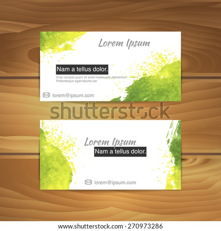 Watercolor business cards on wood desk stock vector royalty free watercolor business cards on wood desk reheart Images