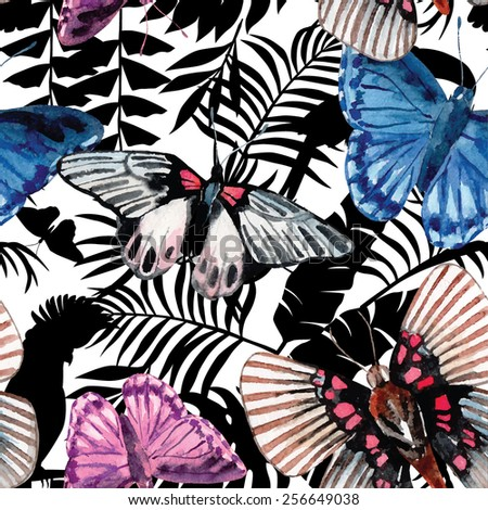 watercolor butterflies pattern, parrots and tropical plants silhouette background - stock vector