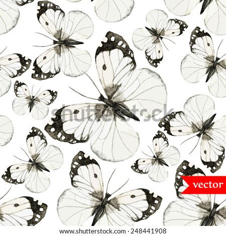 watercolor, butterfly, black and white, vector, pattern - stock vector