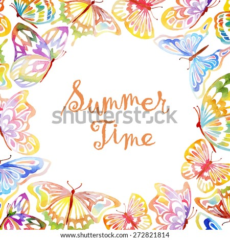watercolor butterfly frame with place for your text vector illustration