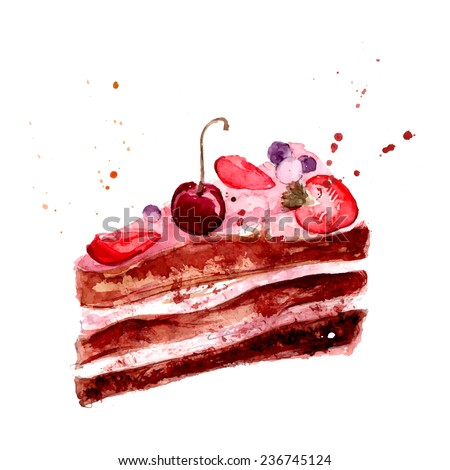 Watercolor cake with pink fruit cream, cherry and strawberry. Vector dessert illustration isolated on white background. - stock vector