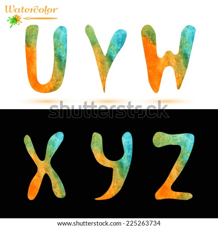 Watercolor capital letters alphabet, isolated elements on white and black background - stock vector