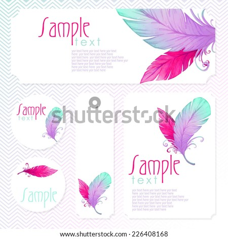 Watercolor card with bird feathers.  Vectorized watercolor drawing. Perfect for wedding invitations and  birthday designs - stock vector