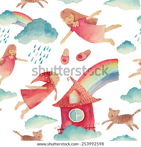 Watercolor cartoon pattern with girls flying. Hand painted girly seamless texture: clouds, cats, sleeping girls and sky. White vector background - stock vector