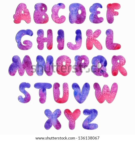 Watercolor Cartoon Vector Font. Decorative letters.