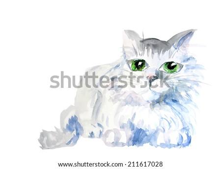 watercolor cat blue color vector - stock vector