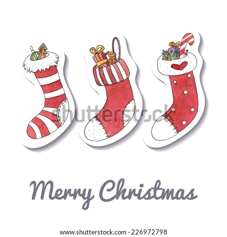 Watercolor Christmas and New Year greeting card with stockings. EPS 10. No transparency. No gradients. Blend. - stock vector