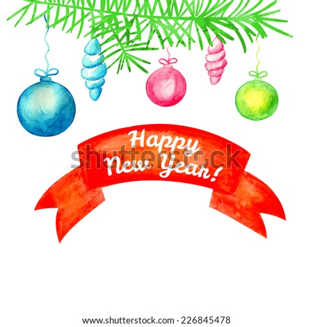 Watercolor christmas background. Christmas Set. Christmas fir tree and balls. Vector background. Frame. - stock vector